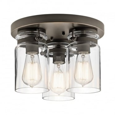 BRINLEY 3 Light Flush Ceiling Light Olde Bronze Clear Glass Shades