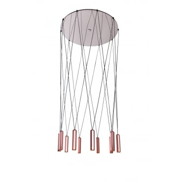 BRIXTON 10 LIGHT CLUSTER SPOTLIGHT PENDANT COPPER Aluminium and Stainless Steel with Black Matte Cable