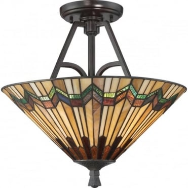 ALCOTT 2 Light Semi Flush Tiffany Glass Ceiling Light Valiant Bronze
