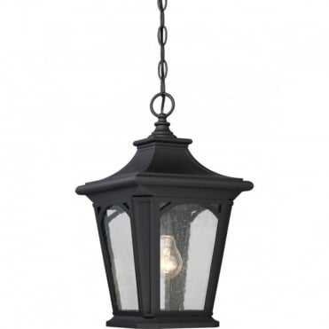BEDFORD Exterior Ceiling Pendant Black Seeded Glass