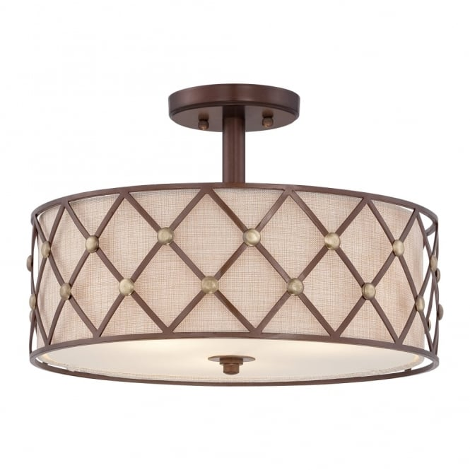 Broadway American Collection BROWN - Lattice Semi-Flush