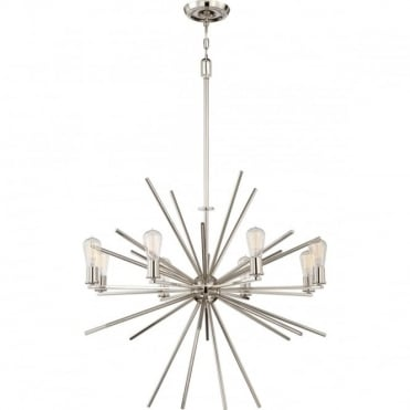 CARNEGIE 8 light pendant in imperial silver