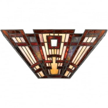 CLASSIC Art Deco Tiffany Glass 2 Light Wall Washer