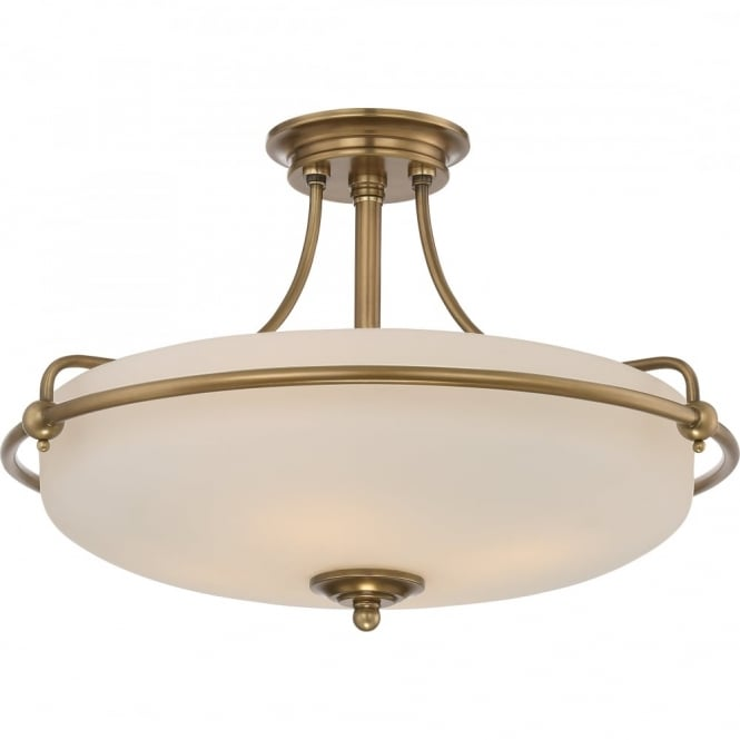 Broadway American Collection GRIFFIN - Weathered Brass Medium Semi-Flush