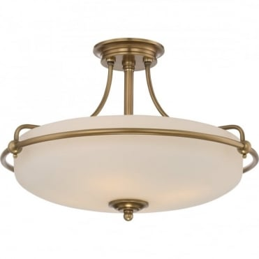 GRIFFIN - Weathered Brass Medium Semi-Flush