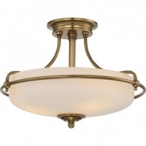 GRIFFIN - Weathered Brass Small Semi-Flush