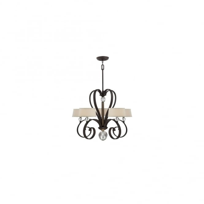 Broadway American Collection MADISON - Manor 5 Lt Chandelier Western Bronze C/W White Linen Shades