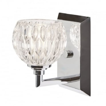 SERENA LED Bathroom Wall Light Chrome Glass Shade with Switch