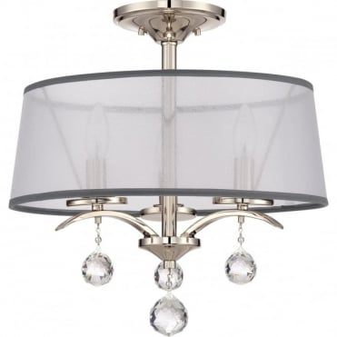 WHITNEY 3 Light Semi-Flush Ceiling Light White Organza Shade, Crystal Drops