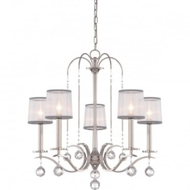 WHITNEY 5 Light Chandelier Imperial Silver, Crystal Drops, White Organza Shades