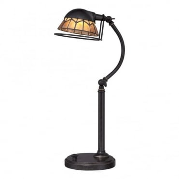 WHITNEY - Bronzed Desk Lamp With Mica Stone Shade. Retro Style Yet It'S LED Highly Energy Efficient!
