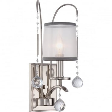 WHITNEY Elegant Wall Light Imperial Silver, crystal detailing, White Organza Shade