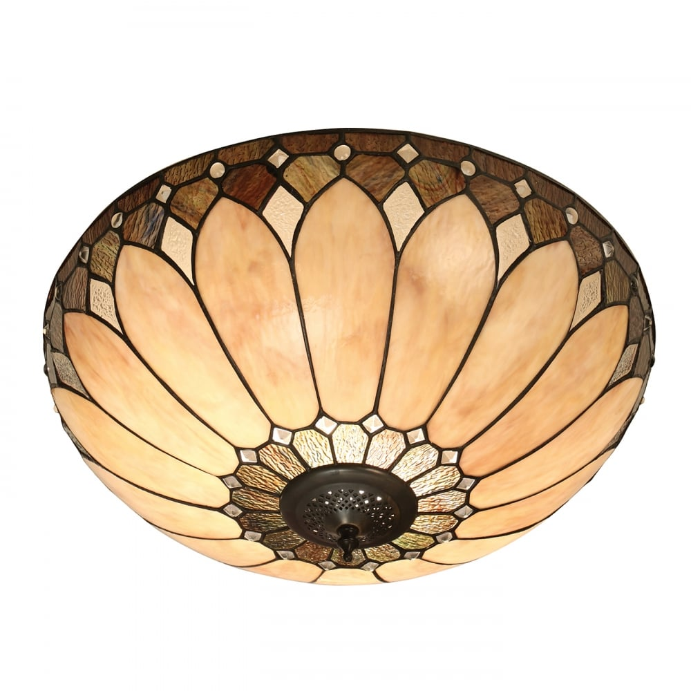 Brooklyn neutral tiffany ceiling light for low ceilings