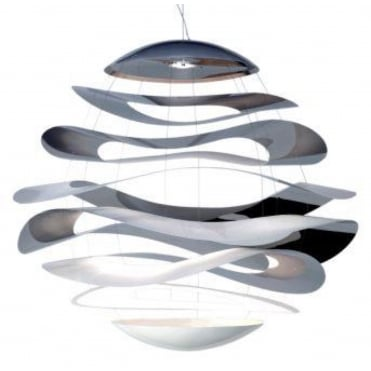 BUCKLE - Extra Large 120cm Ceiling Pendant Polished Steel Lighting Sculpture