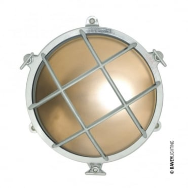 BULKHEAD - Brass Bulkhead With External Fixing Via Feet Chrome Plated in Antique Brass IP44