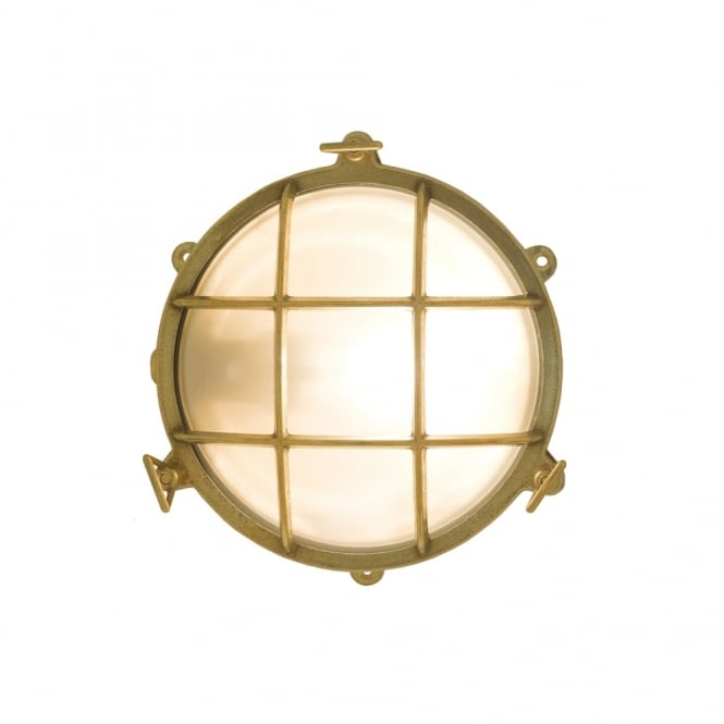 BULKHEAD - Brass Bulkhead With External Fixing Via Feet Polished Brass in Antique Brass IP44