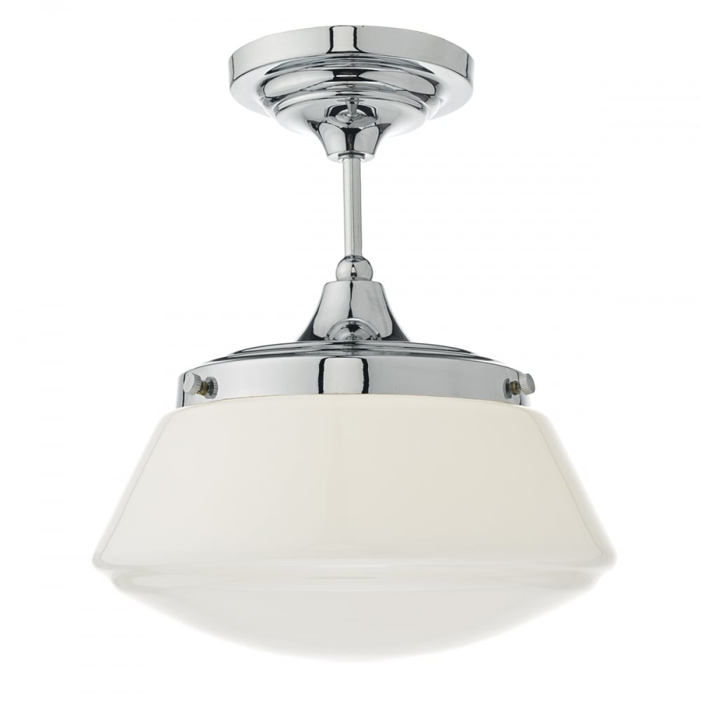 pendant bathroom light caden semi flush polished chrome and opal lighting and 13944