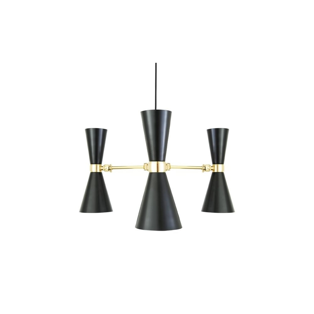Contemporary polished brass black chandelier lighting and lights uk cairo 3 arm contemporary chandelier in powder coated matte black mozeypictures Gallery