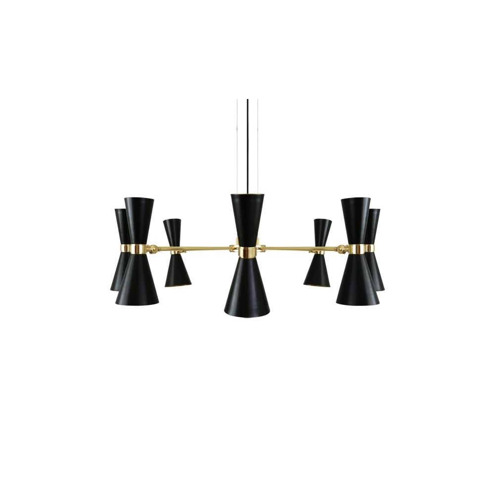 Modern 8 light polished brass black chandelier lighting and lights uk cairo 8 arm contemporary chandelier in powder coated matte black aloadofball Image collections