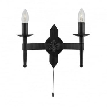 CARTWHEEL - 2 Light Matt Black Gothic Wall Lamp With Switch