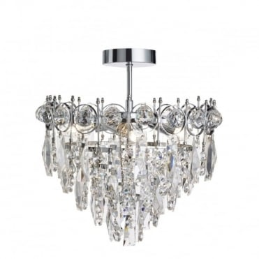 CATHERINE - 3 Light Semi-Flush Ceiling Light In Chrome And Crystal