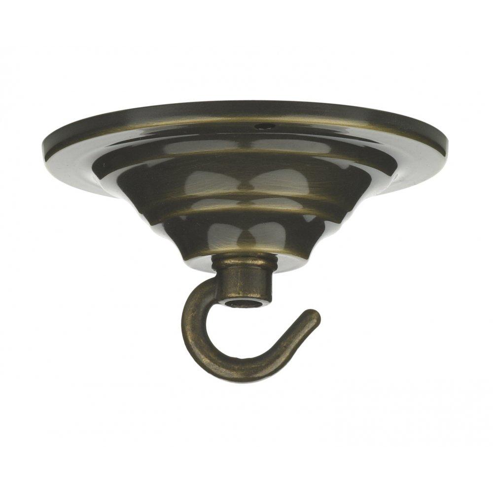 Ceiling Hook Single Rose Plate Antique Brass
