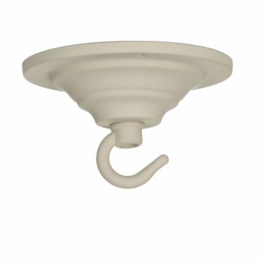 CEILING HOOK - Single Hook Ceiling Rose Plate Cotswold Cream