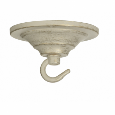 CEILING HOOK - Single Hook Ceiling Rose Plate Ivory/Gold