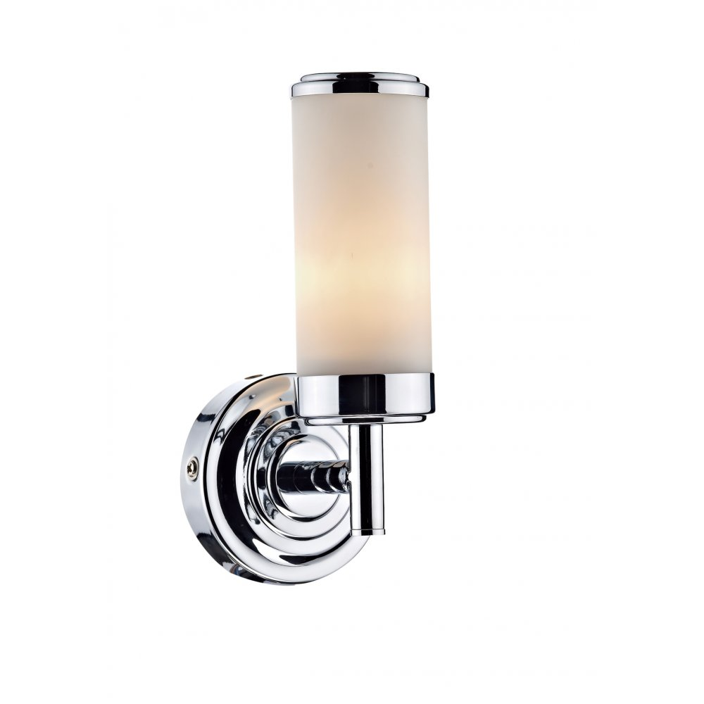 Decorative polished chrome bathroom wall light w opal glass shade century bathroom single wall bracket polished chrome ip44 aloadofball Images