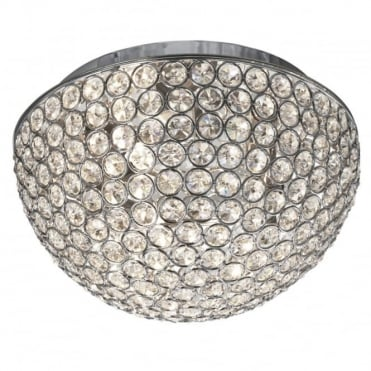 CHANTILLY - 3 Light Dome Ceiling Flush Ceiling Chrome With Clear Buttons