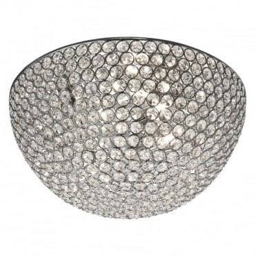 CHANTILLY - 3 Light Dome Ceiling Flush Ceiling Chrome With Clear Glass Buttons