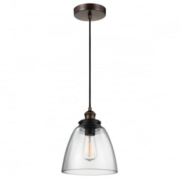 BASKIN Clear Glass Ceiling Pendant Light in Brass/Dark Zinc
