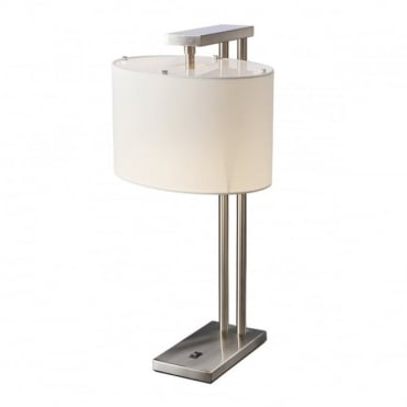 BELMONT Table Lamp Brushed Nickel with Cream Shade