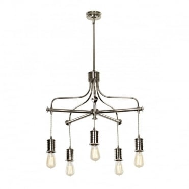 DOUILLE 5 Light Chandelier Ceiling Pendant Polished Nickel