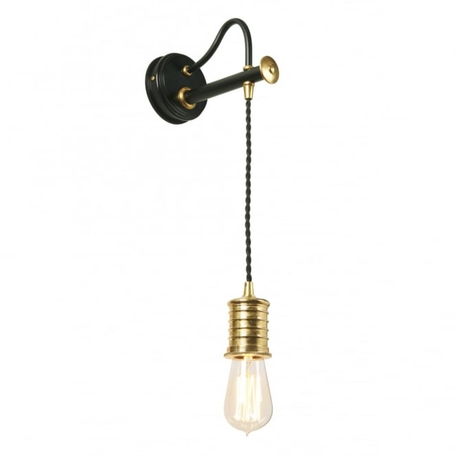 Chester Collection DOUILLE - Black/Polished Brass Wall Light