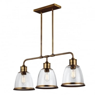 HOBSON Industrial 3 Light Ceiling Pendant Aged Brass Seeded Glass