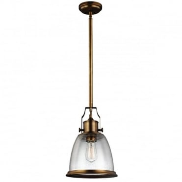 HOBSON Industrial Ceiling Pendant Aged Brass Seeded Glass