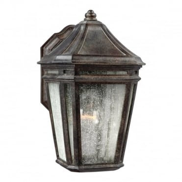 LONDONTOWNE Exterior Wall Lantern Chestnut with Seeded Glass