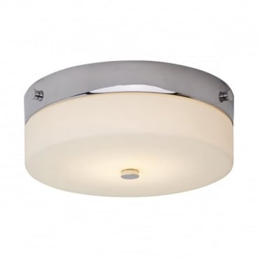 TAMAR LED Medium Bathroom Flush Ceiling Light Chrome Opal Glass