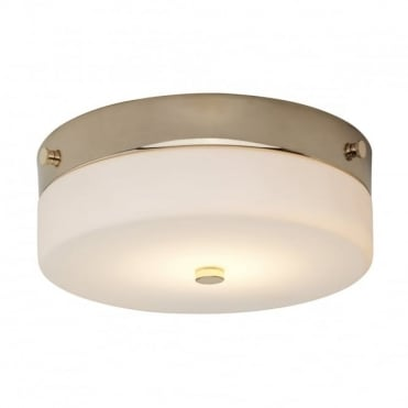 TAMAR LED Medium Bathroom Flush Ceiling Light Gold Opal Glass