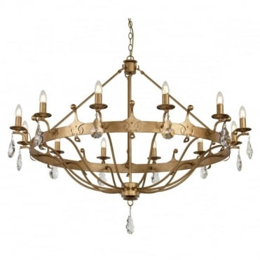 WINDSOR 12 Light Chandelier Gold Patina