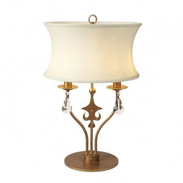 WINDSOR 2 Light Table Lamp Gold Patina Cream Shade