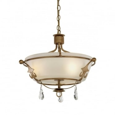 WINDSOR 3 Lt Semi-Flush/Pendant Gold Patina