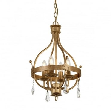 WINDSOR 4 Light Pendant Chandelier Gold Patina Crystal Drops