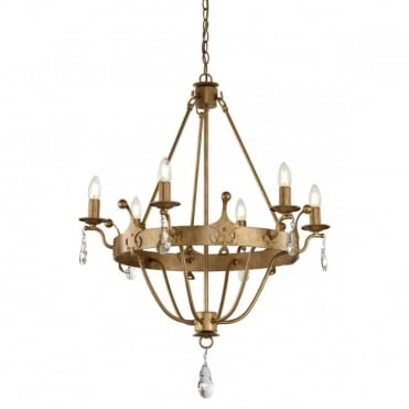 WINDSOR 6 Light Chandelier Gold Patina Crystal Drops