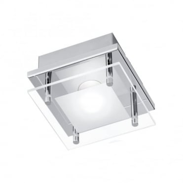 CHIRON - BathroomLED Ceiling Light Chrome in Chrome, Frosted/Opal Glass IP44
