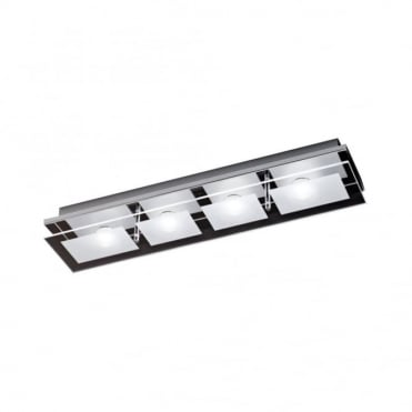 CHIRON - BathroomLED Ceiling Light Chrome in Chrome, Frosted/Opal Glass IP44 Rated