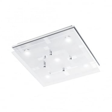 CHIRON - BathroomLED Ceiling Light Chrome in Chrome, Frosted/Opal Glass