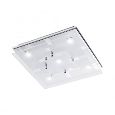 CHIRON - LED Ceiling Light Chrome in Chrome, Frosted/Opal Glass