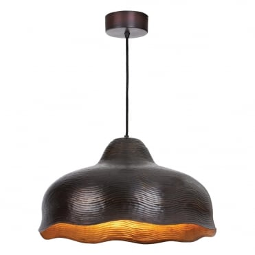 CHLOE Antique Copper Ribbed Ceiling Pendant Fluted Edge